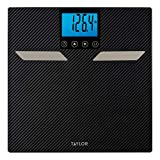 Taylor Precision Products Body Composition Scale with Body Fat, Body Water, Muscle Mass, Bone Mass, BMI and Cal-Max, Carbon