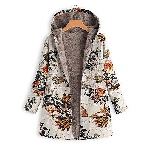 Cappotto Floreale Arancia Biran In Con Grazioso Pile Tasche Cappuccio Vintage Invernale Caldo Da Stampa Parka Fodera Giacca Outwear Donna NPw80OnkXZ