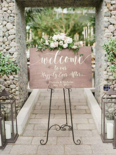 Rustic Welcome Sign for Weddings: Display Date & Couple Name, Personalized Welcome Wedding Sign, Weathered Oak Stain Wood Sign, Wedding & Reception Decorations]()