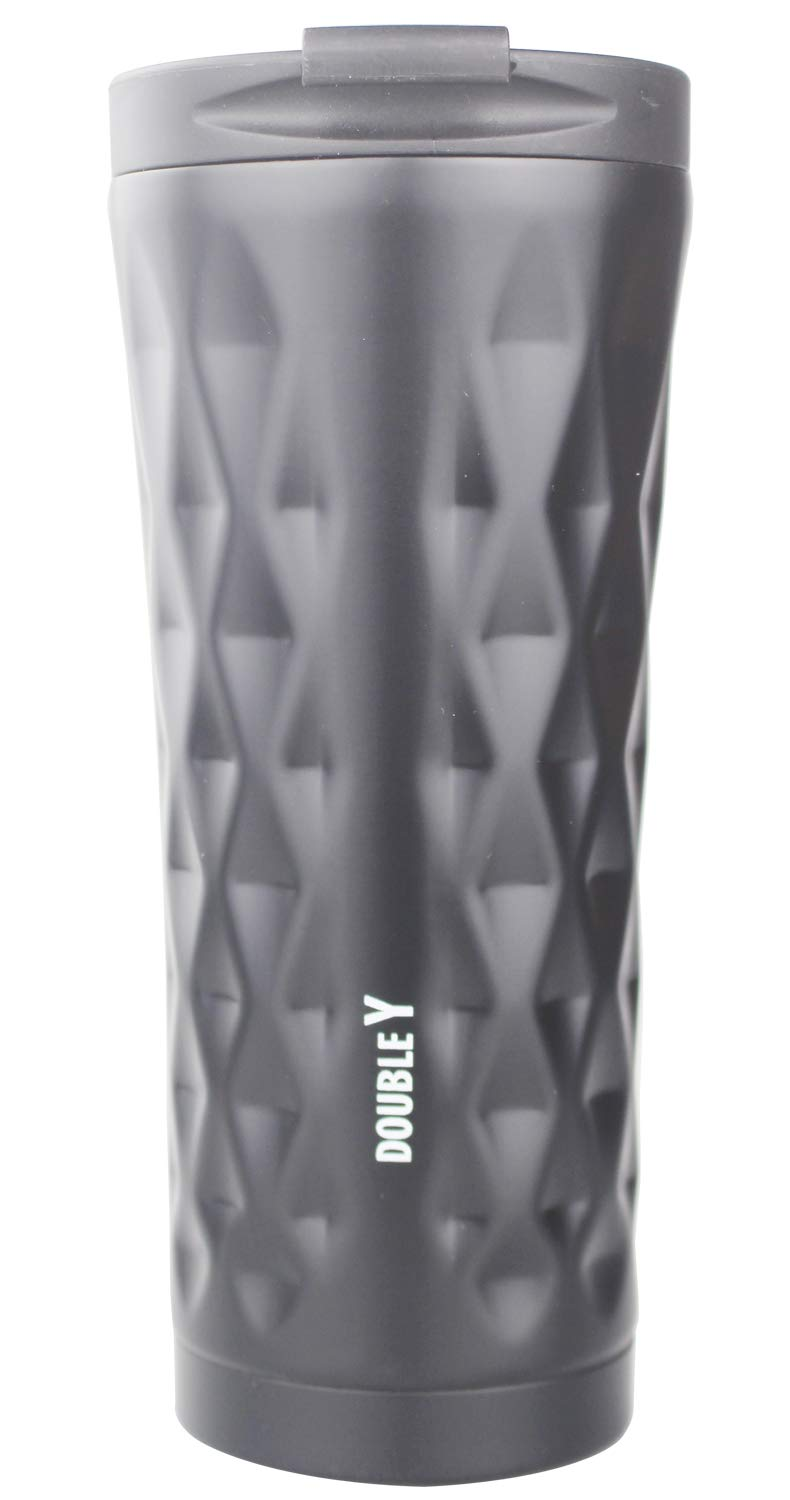 Double Y 500 ML Insulated Vacuum Flask,Stainless Steel Travel Coffee Mug (Black-lxb) erying