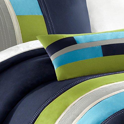 (Mi-Zone Pipeline Twin/Twin XL Duvet Cover Set Kids Boy - Navy Blue, Striped Pieced – 3 Piece Bed Set Cover – Ultra Soft Microfiber Kid Boys Bedding)