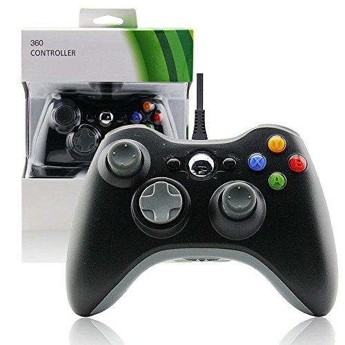 Wired USB Joypad Game Controller for MICROSOFT Xbox 360 & PC Windows-Black by (Usb Force Feedback Joystick)