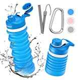 Collapsible Foldable Water Bottle - BPA Free FDA Approved Portable Reusable Leakproof Silicone