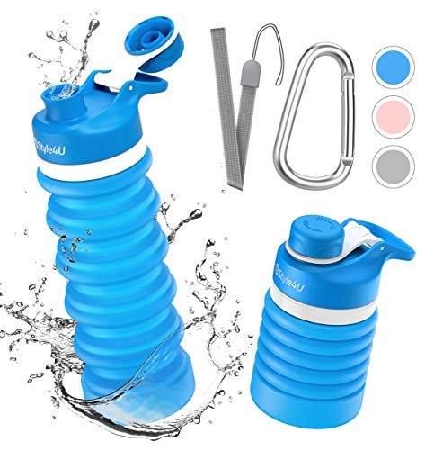 Collapsible Foldable Water Bottle - BPA Free FDA Approved Portable Reusable Leakproof Silicone Sports Travel Water Bottle for Outdoor, Gym, Hiking, Cycling with Wrist Lanyard and Carabiner (Blue)