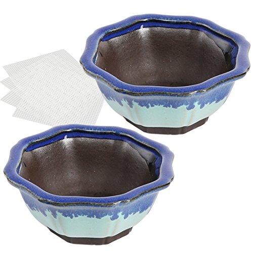 Happy Bonsai Small Glazed Pots, Value Set of 2 + 4 Soft Mesh Drainage Screens - Glazed Bonsai Pot