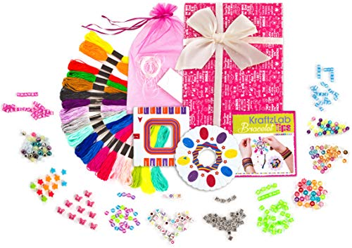 (KRAFTZLAB Friendship Bracelet Making Kit | Large 328 Piece Jewelry Maker Including Friendship Bracelet String, Alphabet Beads and More | Crafts Bracelet Kit and Ideal for Girls 7 To 12)