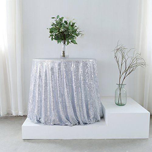 GFCC Silver Sequin Table Cover Sparkly Round Tablecloth for Wedding (96inch)