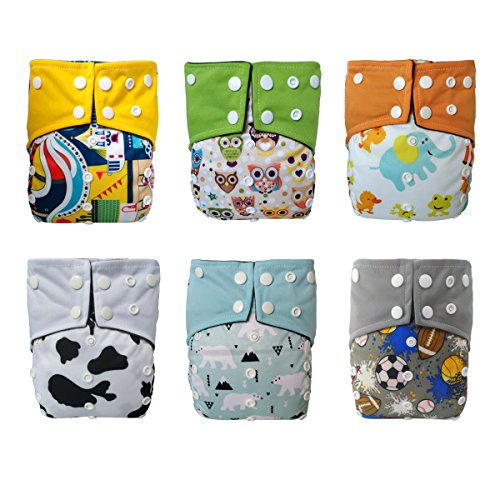 LBB Cloth Diapers With Built-in Bamboo Charcoal Inserts(pack of 6), LBBZH608, One Size -