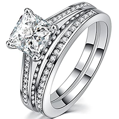 FENDINA Womens Luxurious 18k White Gold Plated Wedding Engagement Bands Princess Cut CZ Crystal Solitaire Anniversary Promise Rings Set