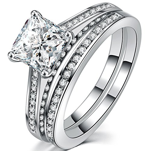 FENDINA Womens Luxurious 18k White Gold Plated Wedding Engagement Bands Princess Cut CZ Crystal Solitaire Anniversary Promise Rings Set, Size 9