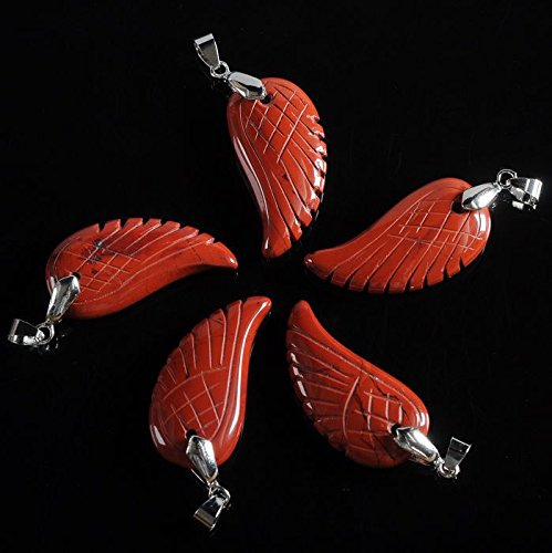 Wholesale 5pcs 35mm Hand Carved rock crystal gemstone angel wing bead 1.4