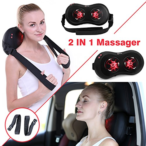 Boolex Shiatsu Neck Massage Pillow and Back Massager with Heat and 16 Kneading Nodes Removable Strap