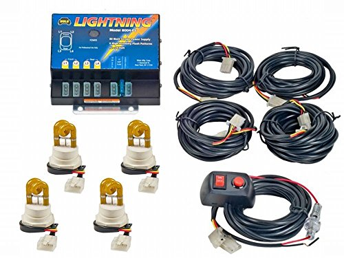 Wolo (8004-3AAAA) Lightning 80 Watt Power Supply Four Bulb Emergency Warning Strobe Kit - 4 Amber Bulbs