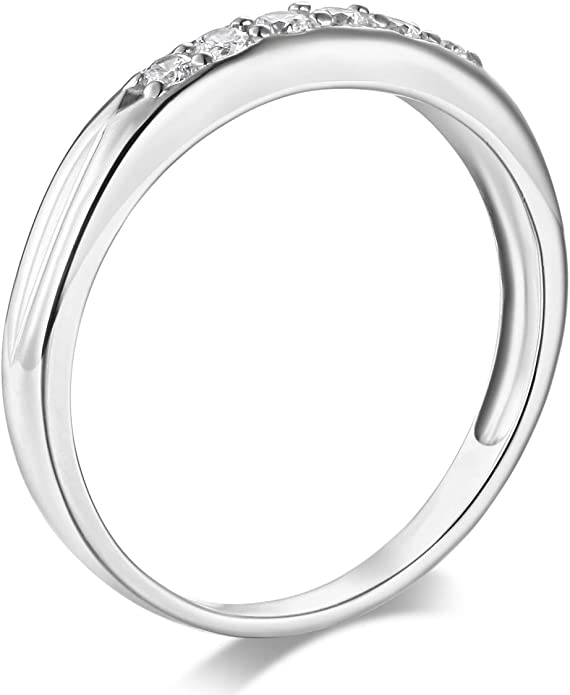 Wellingsale Ladies 925 Sterling Silver Polished Rhodium Channel Set Wedding Band
