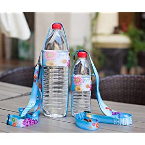 Glovion Adjustable Water Bottle Sling ,Compact Lanyard Bottle Carrier - (Adult) Blue Flower