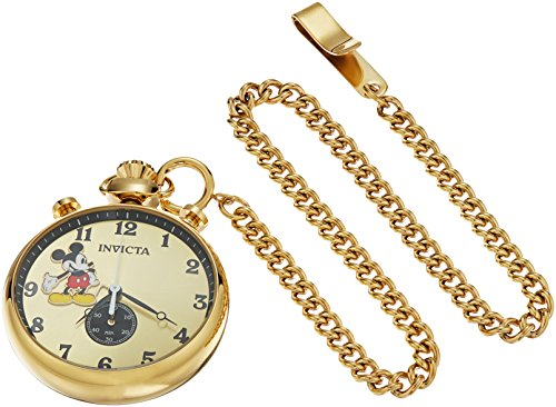 Invicta Men's Disney Limited Edition Quartz Watch with Stainless-Steel Strap, Gold, 7 (Model: 22746) (Mickey Mouse Gold Pocket Watch)