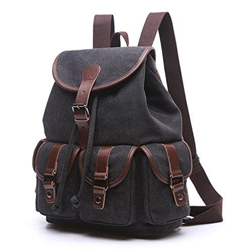 Outreo Mujer Mochilas Escolares Colegio Bolsas de Viaje Mochila Vintage Bag Cordón Bolso Moda Casual Backpack para Sport Escuela Bolsos Bandolera Negro