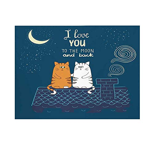 I Love You Photography Background,Love Cats on The Roof Under Night Sky Moon Stars Caricature Kitty Decorative Backdrop for Studio,10x8ft