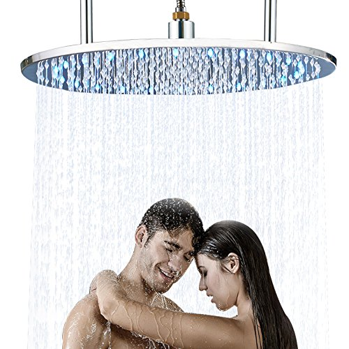 Senlesen Ceiling Mounted LED Light 20-inch Round Shower Head Rainfall Overhead Spray Chrome Finished