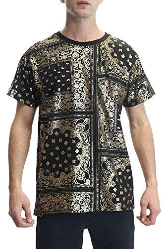 Victorious Metallic Foil Bandana Print T-Shirt TS968 - BLACK/GOLD - Medium