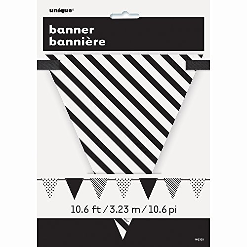10. 6 ft/ 3.23 m Black Polka Dot and Striped Pennant Banner -