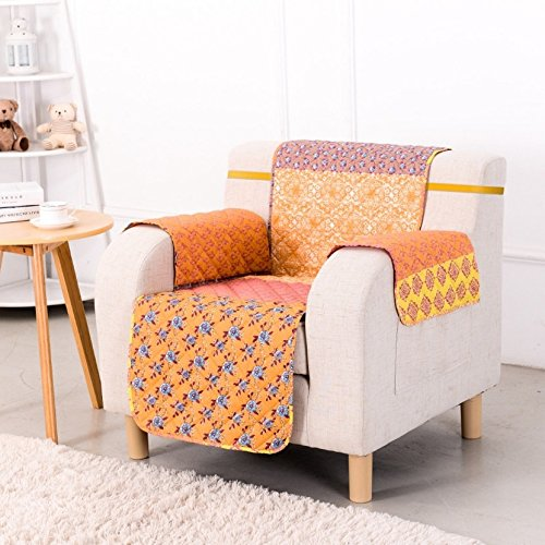 MN 1 Piece Orange Blue Floral Theme Chair Protector, Geometric Bright Color Flower Pattern Couch Protection Flowers Leaves Furniture Protection Cover Pets Animals Covers Nature Motif, Polyester by MN