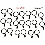 TEJATAN Set of 40 1.5-inch Metal Curtain Rings with Clips and Eyelets - Black (Also known as Curtain clip rings / Drapery Rings / Curtain Rings with Clips / Drapery Clip Rings)