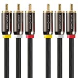 FosPower [25 FT] 3RCA Male to 3RCA Male RWY Plugs, Composite Video & Stereo Audio Connectors Cable for DVD Players, VCR, Camcorder, Projector, Game Console and More - (Red, White, Yellow)