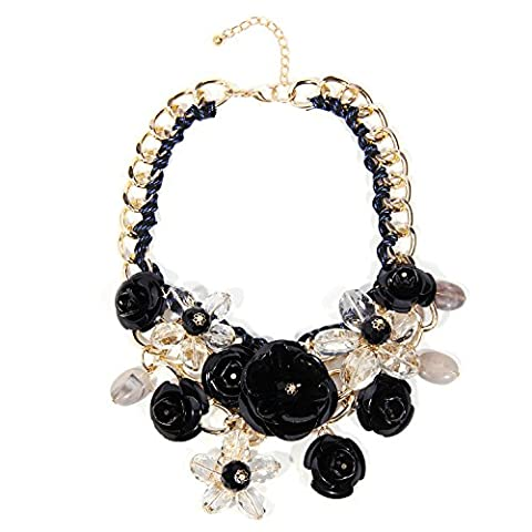 Zhenhui Women Gold Chain Crystal Flowers Charm Pendant Big Chunky Bib Statement Necklace for Clothing (Black (Womens Chunky Jewelry)