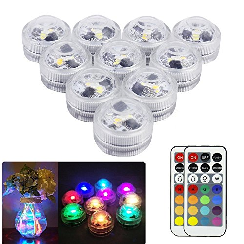 GUTYRAN Waterproof Tea Lights Submersible LED Vase Lights with Remote Control,RGB Color Changing for Party,Wedding Shower Table Centerpieces,Home Decor, Pack of 10