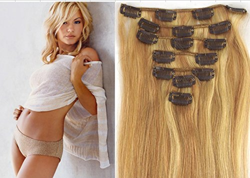 """18"""" 70g 7pc 18/613#light ash blonde mix blonde Clip In Remy Human Hair Extensions"""