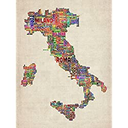 Wall Art Print entitled Text Map Of Italy Map by Michael Tompsett | 16 x 21