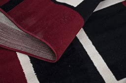 Sweet Home Stores Clifton Collection Modern Boxes Design Area Rug (5\' W x 7\' L), Dark Red