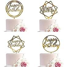 Whaline Happy Birthday Cake Topper Acrylic Cupcake Topper, A Series of Birthday Cake Supplies Decorations
