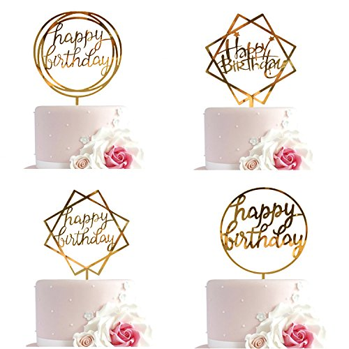 Whaline Happy Birthday Cake Topper Acrylic Cupcake Topper, A Series of Birthday Cake Supplies Decorations