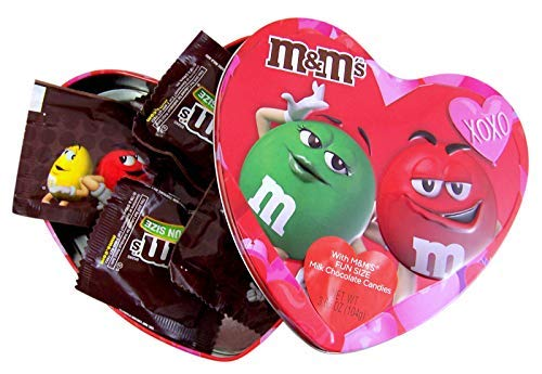 - Valentine's Day Heart Shaped Gift Tin with Fun Size Milk Chocolate M&M's Candy, 3.66 Ounce