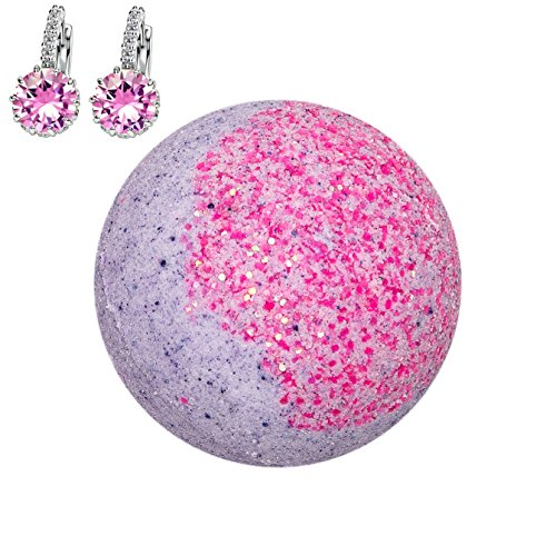 Addicted to Soap - Pink Earrings Jewelry Bath Bomb | Ultra Luxurious - Extra Large 6oz Bath Bomb with STERLING SILVER Surprise Inside - Organic & Sensual Relaxation Handmade with Love Texas