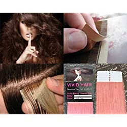 "10 Pcs X 22"" inches Remy Seamless Tape In Skin weft Human Hair Extensions Color Light Baby Pink"