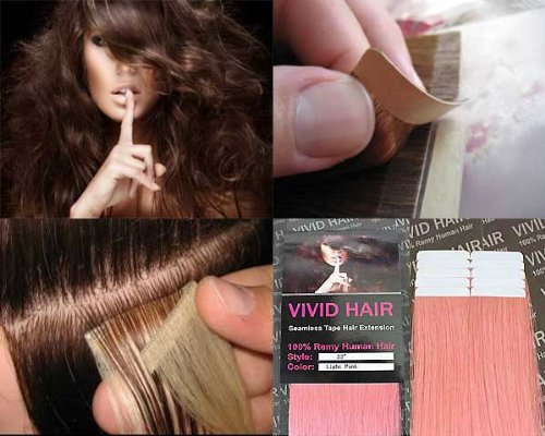 10 Pcs X 22″ inches Remy Seamless Tape In Skin weft Human Hair Extensions Color Light Baby Pink Review