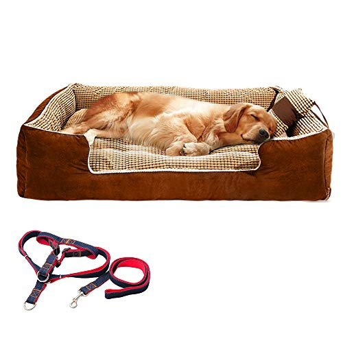 Large Dog Bed Rectangle Ultimate Dog Couch 47x35x10In with Pillow,Dog Leash. Dog Lounge Sofa Bed for Large/Extra Large Dogs,Completely Removable Cover with Zipper,Machine Washable, Easy Clean, Durable