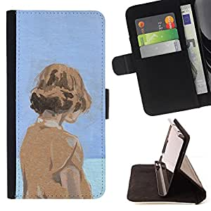 BullDog Case - FOR/Apple Iphone 6 PLUS 5.5 / - / WATERCOLOR BLUE ORANGE GIRL DEEP SAD /- Monedero de cuero de la PU Llevar cubierta de la caja con el ID Credit Card Slots Flip funda de cuer