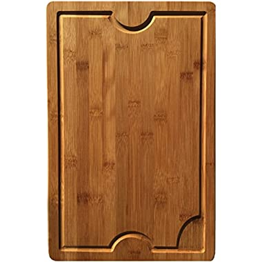 Large Bamboo Cutting Board with Groove - 17  x 11  Wood Cutting Board Butcher Block by Red Panda Bamboo