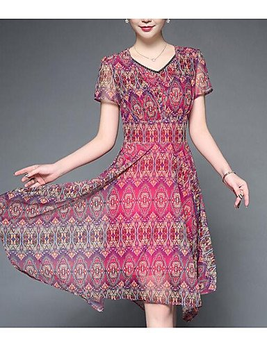 Mujer Línea A Vestido Noche Vintage Tejido Oriental,Geométrico Escote en Pico Hasta la Rodilla Sobre la rodilla Manga Corta Rayón , 2xl