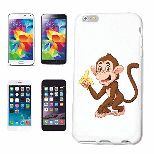 """cas de téléphone iPhone 6+ Plus """"MONKEY FUNNY AVEC BANANE MONKEY MONKEY GORILLA CHIMP SILVER RETOUR APE CHARLY MONKEY KING KONG"""" Hard Case Cover Téléphone Covers Smart Cover pour Apple iPhone en blanc"""