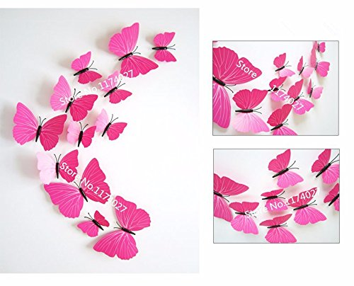 12 Pcs/Lot PVC 3D DIY Butterfly Wall Stickers Home Decor Poster for Kitchen Bathroom - Ban Ray Poster