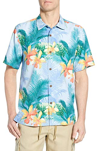 Silk Blend Camp Shirt - Tommy Bahama Island Zone Shadows in Paradise Silk Blend Camp Shirt (Color: Lt Sky, Size XL)