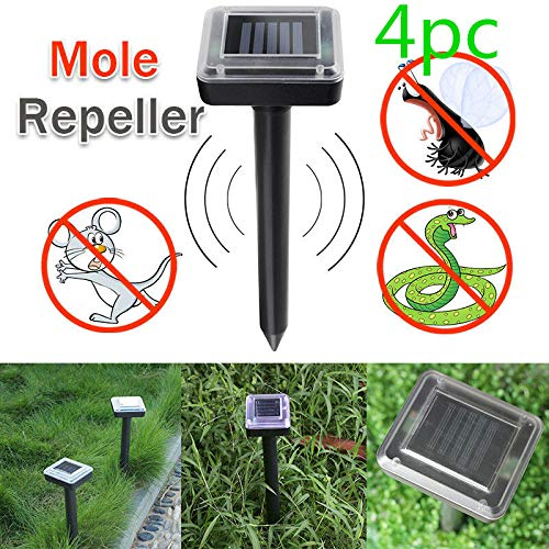 ONEVER Solar Mole Repellent, 4 Pack Ultrasonic Solar Power Animals Repeller Waterproof for Outdoor Garden Lawn Yard Get Rid of Moles Voles Gophers Rats Rodents
