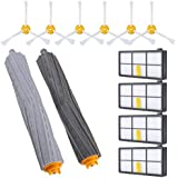 KEEPOW Replacement Parts for iRobot Roomba 980 900 890 880 870 860 800 Robotic Vacuum Cleaner (6pcs side brushes+4pcs Filters+1 set Tangle-Free Debris Extractor)