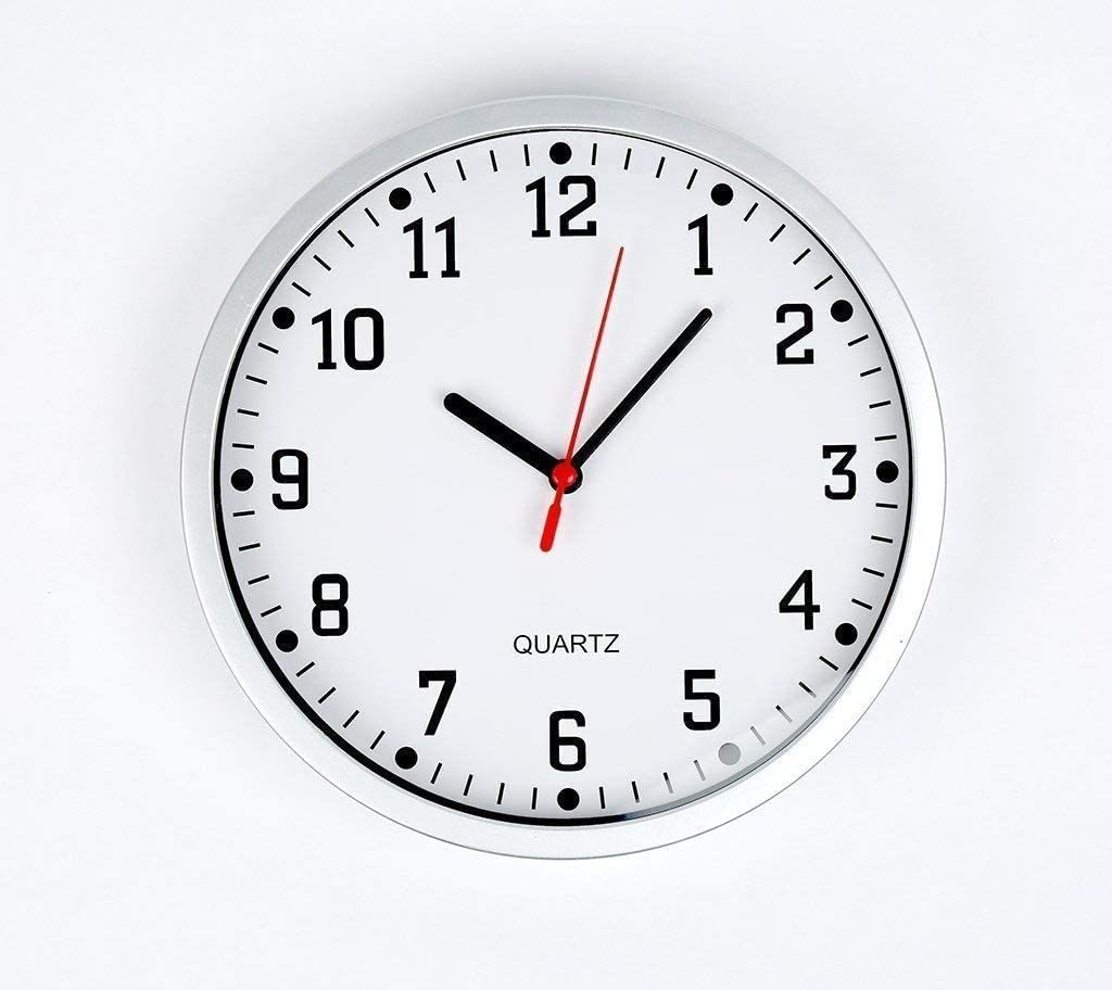 """Ideal for Living and Dining Room White Easy Readable Big Numbers Class Room Round Office Kitchen D.A.Y Bedrooms Republic Large Stylish Silent Wall Clock 23cm 9/"""" Non Ticking Quartz Clock"""
