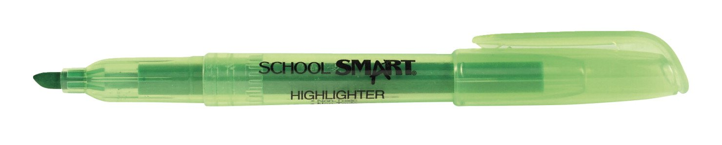 School Smart Non Toxic Chisel Tip Highlighters - Pack of 12 - Green